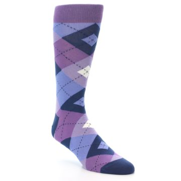 Image of Purples Blue Argyle Wedding Groomsmen Men's Dress Socks (side-1-27)
