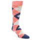 Image of Coral Navy Argyle Wedding Groomsmen Men's Dress Socks (side-1-front-01)