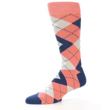 Image of Coral Navy Argyle Wedding Groomsmen Men's Dress Socks (side-2-10)