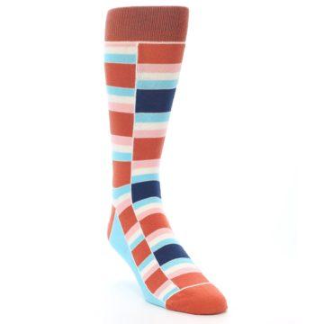 Image of Mandarin Orange Stacked Men's Dress Socks (side-1-front-02)