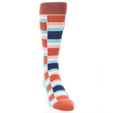 Image of Mandarin Orange Stacked Men's Dress Socks (side-1-front-03)