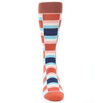 Image of Mandarin Orange Stacked Men's Dress Socks (front-04)