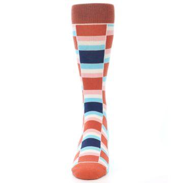 Image of Mandarin Orange Stacked Men's Dress Socks (front-05)