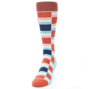 Image of Mandarin Orange Stacked Men's Dress Socks (side-2-front-06)