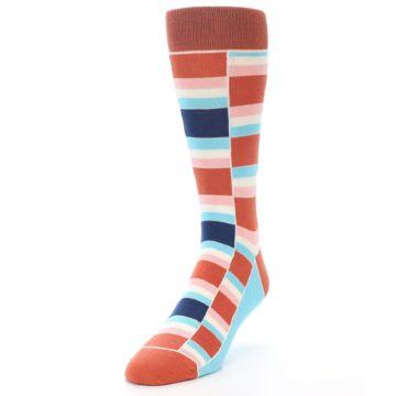Image of Mandarin Orange Stacked Men's Dress Socks (side-2-front-07)
