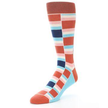 Image of Mandarin Orange Stacked Men's Dress Socks (side-2-front-08)