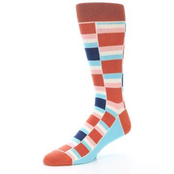 Image of Mandarin Orange Stacked Men's Dress Socks (side-2-09)