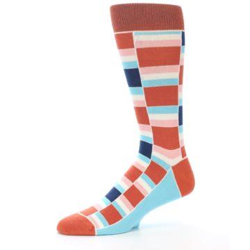 Image of Mandarin Orange Stacked Men's Dress Socks (side-2-10)