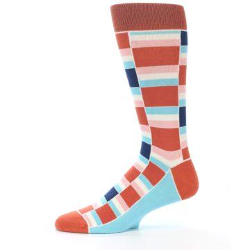 Image of Mandarin Orange Stacked Men's Dress Socks (side-2-11)