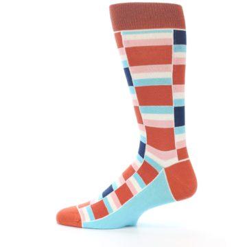 Image of Mandarin Orange Stacked Men's Dress Socks (side-2-12)