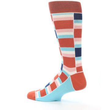 Image of Mandarin Orange Stacked Men's Dress Socks (side-2-13)