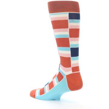 Image of Mandarin Orange Stacked Men's Dress Socks (side-2-back-14)