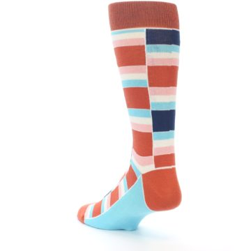 Image of Mandarin Orange Stacked Men's Dress Socks (side-2-back-15)