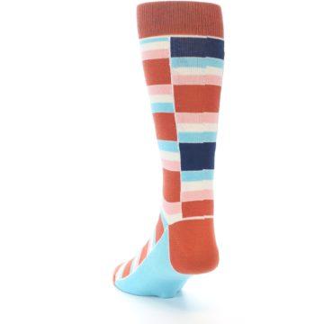 Image of Mandarin Orange Stacked Men's Dress Socks (side-2-back-16)
