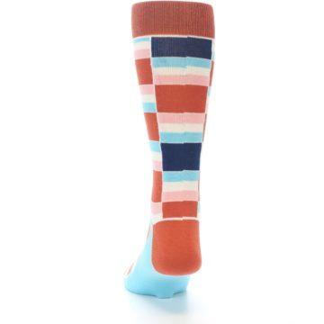 Image of Mandarin Orange Stacked Men's Dress Socks (back-17)