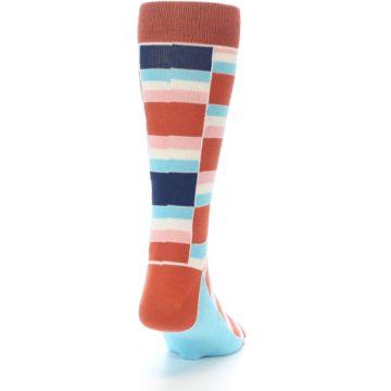 Image of Mandarin Orange Stacked Men's Dress Socks (back-19)
