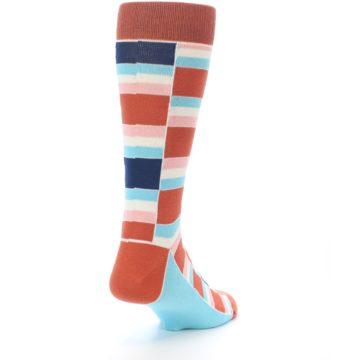 Image of Mandarin Orange Stacked Men's Dress Socks (side-1-back-20)