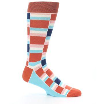 Image of Mandarin Orange Stacked Men's Dress Socks (side-1-25)