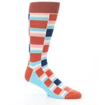 Image of Mandarin Orange Stacked Men's Dress Socks (side-1-26)