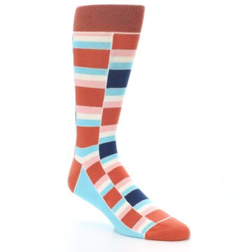 Image of Mandarin Orange Stacked Men's Dress Socks (side-1-27)