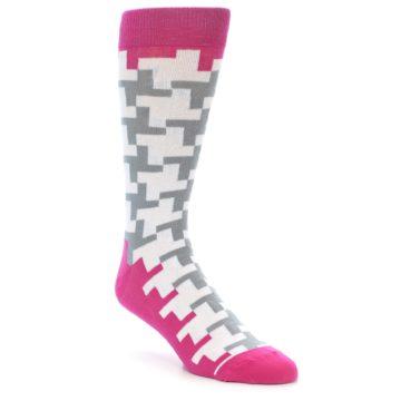 Image of White Grey Pink Patterned Men's Dress Socks (side-1-front-01)