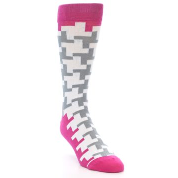 Image of White Grey Pink Patterned Men's Dress Socks (side-1-front-02)