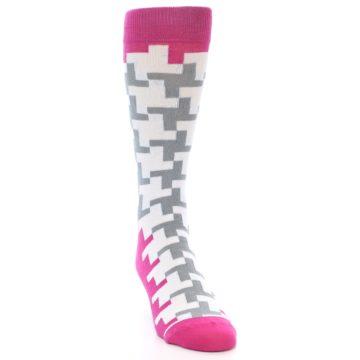 Image of White Grey Pink Patterned Men's Dress Socks (side-1-front-03)