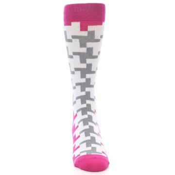 Image of White Grey Pink Patterned Men's Dress Socks (front-04)