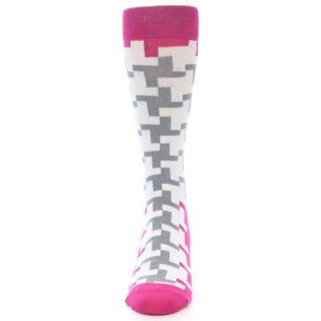 Image of White Grey Pink Patterned Men's Dress Socks (front-05)