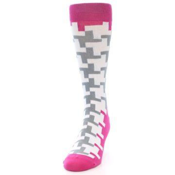 Image of White Grey Pink Patterned Men's Dress Socks (side-2-front-06)
