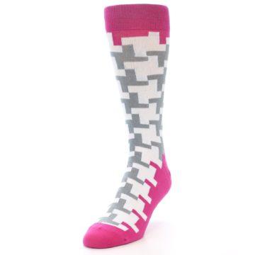 Image of White Grey Pink Patterned Men's Dress Socks (side-2-front-07)