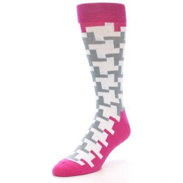 Image of White Grey Pink Patterned Men's Dress Socks (side-2-front-08)