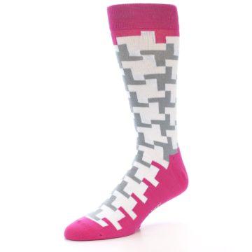 Image of White Grey Pink Patterned Men's Dress Socks (side-2-09)