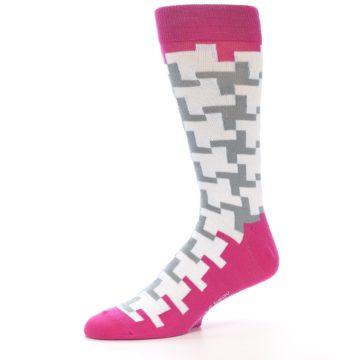 Image of White Grey Pink Patterned Men's Dress Socks (side-2-10)