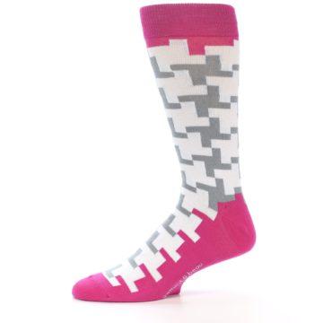 Image of White Grey Pink Patterned Men's Dress Socks (side-2-11)