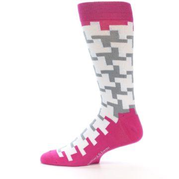 Image of White Grey Pink Patterned Men's Dress Socks (side-2-12)