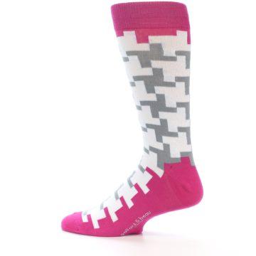 Image of White Grey Pink Patterned Men's Dress Socks (side-2-13)