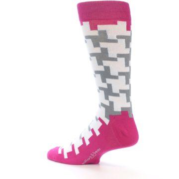 Image of White Grey Pink Patterned Men's Dress Socks (side-2-back-14)