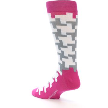 Image of White Grey Pink Patterned Men's Dress Socks (side-2-back-15)