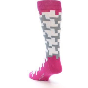 Image of White Grey Pink Patterned Men's Dress Socks (side-2-back-16)