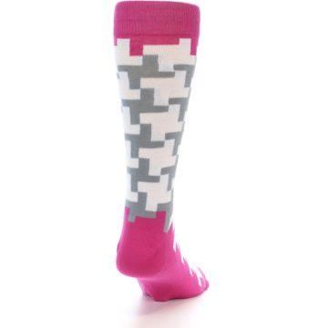 Image of White Grey Pink Patterned Men's Dress Socks (side-1-back-20)