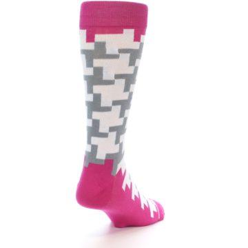 Image of White Grey Pink Patterned Men's Dress Socks (side-1-back-21)