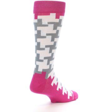 Image of White Grey Pink Patterned Men's Dress Socks (side-1-back-22)