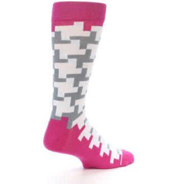 Image of White Grey Pink Patterned Men's Dress Socks (side-1-23)
