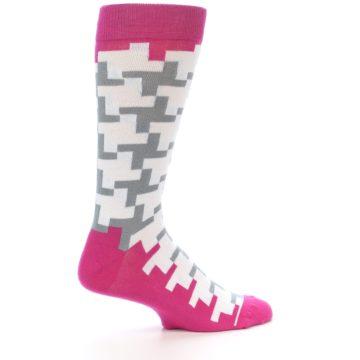 Image of White Grey Pink Patterned Men's Dress Socks (side-1-24)