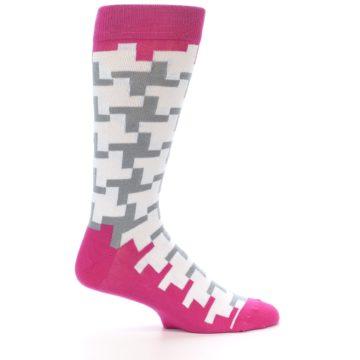 Image of White Grey Pink Patterned Men's Dress Socks (side-1-25)