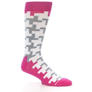 Image of White Grey Pink Patterned Men's Dress Socks (side-1-26)