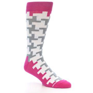 Image of White Grey Pink Patterned Men's Dress Socks (side-1-27)