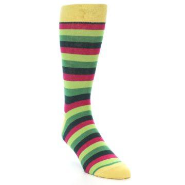 Image of Greens Pink Stripe Men's Dress Socks (side-1-front-02)