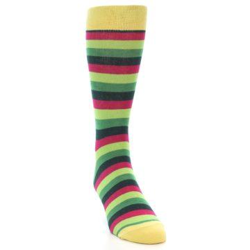 Image of Greens Pink Stripe Men's Dress Socks (side-1-front-03)